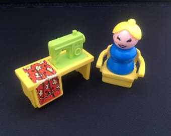 Vintage fisher price little people sewing machine chair and lady 1970's