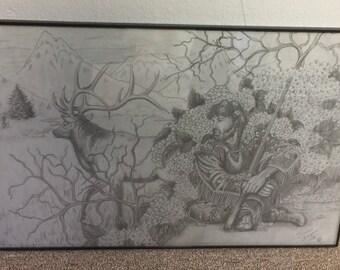 Elk and Hunter - Art Print - UNFRAMED 11 x 17