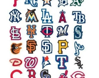 MLB Baseball Sticker Set. All 30 Teams. Officially Licensed Yankees Dodgers Giants Red Sox Cardinals Cubs Tigers Indians Rangers Braves Mets