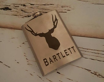 Stainless Steel Personalized Buck Flask-hunting flask-customizable