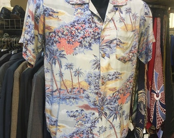 Surf's up! A lovely Rayon print hawaiian shirt of the 1960s!