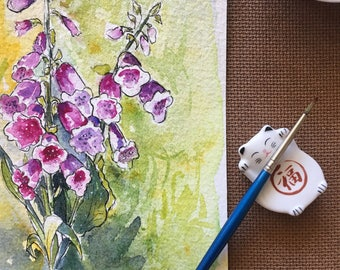 Original Watercolor Flowers Painting, Watercolor florals, Watercolor Foxglove painting, Original art, Valentines gift, Floral art