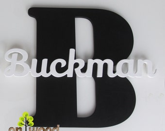 Black&white personalized name. Capital letter with name. Wall decor. Gift. Wall hanging. Wooden letters. Nursery decor.
