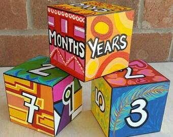 Made to order Baby Blocks. Custom Baby Blocks,Baby Room,Baby Decor ,Nursery Art, Age Blocks ,Baby Age Blocks, Wooden Blocks,Baby Shower Gift