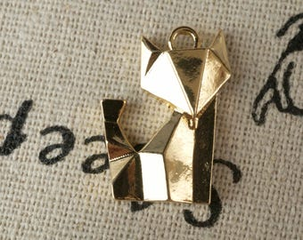 Origami fox 2 gold charms  jewellery supplies C201
