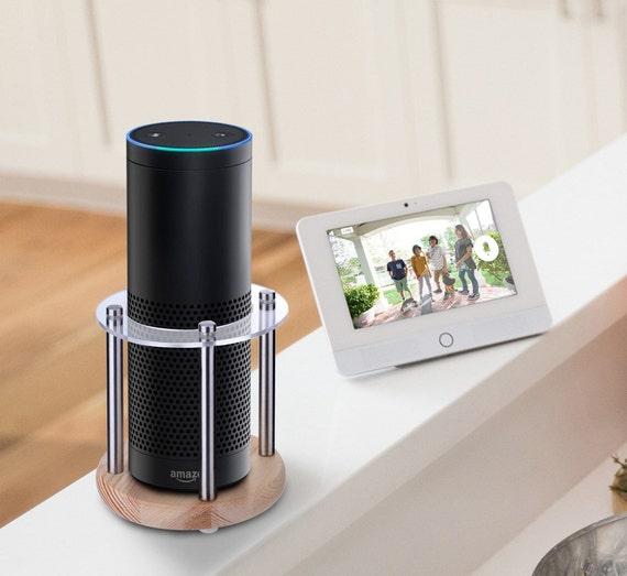 Amazon Alexa Echo Speaker Stand (Wood &Clear Acrylic) - Enhanced Strength and Stability to Protect Alexa Boom Speaker-Sleek Smart Home Decor