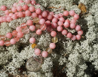 Rhodonite,Smoky Quartz,Watermelon Turmalin,108 bead Mala