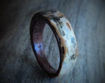 Birch Bark Wooden Ring - Bohemian Jewelry - Ecofriendly Jewelry - Hand Made Wood Ring - Bent Wood Ring - Craft Work Ring - Custom Made Boho