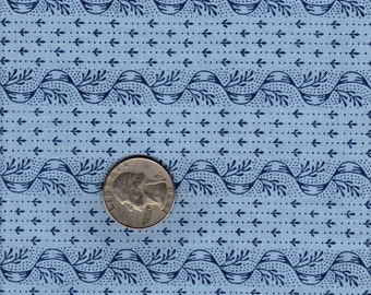 Quilter's Fat Quarter Out of Print Smithsonian Copp Quilt Fabric Lt. Blue Stripe