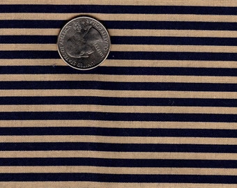 "Patriotic 1/8"" Stripe Blue and Tan OOP Marcus Brothers Textiles Fat Quarter"