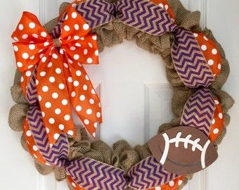 Sports Wreath (ANY TEAM) - Clemson Wreath - Burlap Sports Wreath - Football Wreath - Clemson University Wreath - Pick Your Team Wreath