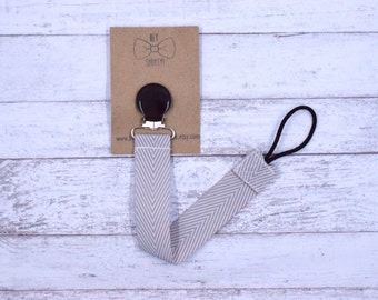 Binky Leash -Gray Herringbone