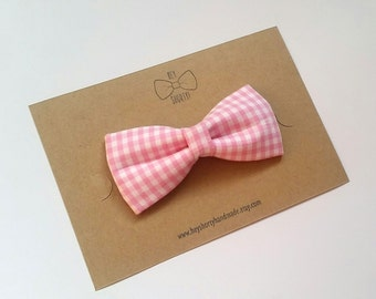 Boy's, Toddler, Baby, Pink Check Bow Tie
