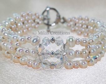 Woven freshwater pearl bracelet