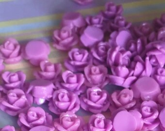 Purple Rose Cab | Resin Rose Cabochon | Flower Cabochon | Resin Flower | Resin Rosebuds | 10mm Resin Rose | Flatback Rose | 24 Pieces