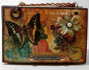 Butterfly Journal, Steampunk Journal, Smashbook, Junk Journal, Travel Journal, Premade Scrapbook, Travel Scrapbook, Graphic 45, Victorian