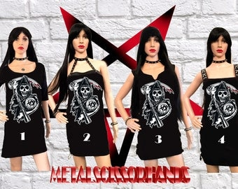 Sons Of Anarchy SAMCRO Handmade Mini Dress , 4 Different Dress Styles, Choose yours!