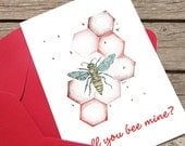 Bee Mine, Valentines Day Art, Valentine's Day Card Clipart, Bee Illustration, Card Artwork, Digital Download, Instant Printable Art 8x10 PDF
