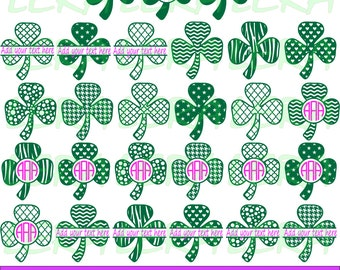 60 % OFF, Clover SVG, Monogram Shamrock svg, Shamrock Clover svg, png, eps, dxf, Monogram vector files, Patrick's Day Clover for Silhouette