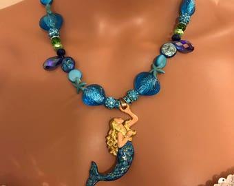 Aqua Blue blonde mermaid necklace w pendant