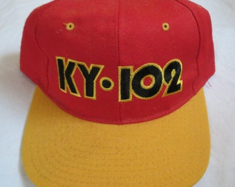 KY 102 WDAF-FM Kansas City Rock & Roll Radio Station Vintage Embroidered Hat Cap Chiefs colors Red and Gold Snap Back  Made in the U.S.A.
