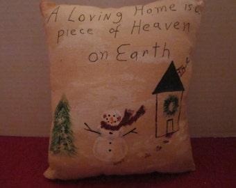 Tiny Little Tea Dyed Xmas Pillow - Handmade