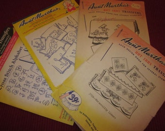 Four Old Aunt Martha's Hot Iron Transfers