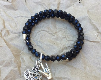 ILY n Black Crystals Memory Bracelet - Expandable, with Fancy Heart Charm