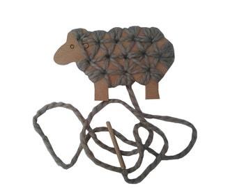 Wooden toy - kids sewing kit sheep