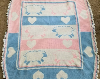 Neutral Pink and Blue Sheep and Hearts Baby Blanket