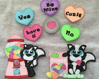 "Premade Paper Piecing Die Cut ""Sweet Heart Skunk"" 8 piece Embellishment Set"