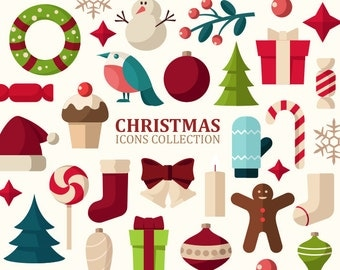 Christmas clipart. Christmas icons clip art. Holiday clipart. Vector graphic. Digital art.