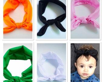 Baby girls headband, Knot headband, baby turban headband, orange Headband, green headband, black headband, white headband, pink headband