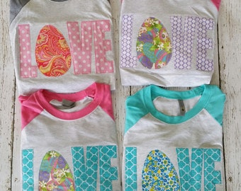 Applique LOVE shirt Easter Egg raglan shirt
