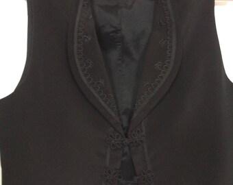 Black Silk Tuxedo Vest Sz M