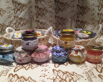 4 jars with candles fragrant and colorful * offer end of stock *-Gift Idea