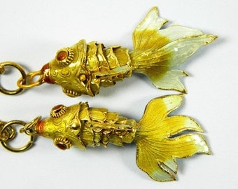 A Pair Of Yellow Cloisonne Copper Enamel Articulated Goldfish Koi Fish Figurine,Pendant & Earrings Eardrops Component,Decoration Ornament,