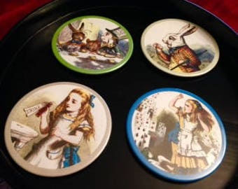 Set of Four Alice in Wonderland  Themed Coasters
