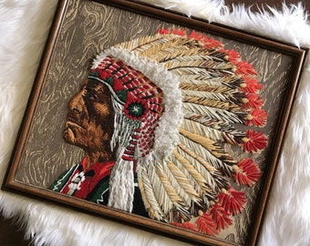 Hand stitched indian chief