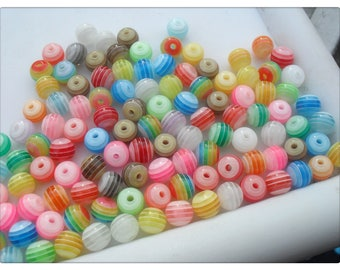 Striped resin beads, Resin beads, Round beads, Striped beads, Beads, Jewellery making, Craft beads, Striped, 6mm, Round, Multicolour