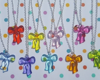 Acrylic bow necklace, Bow necklace, Pendant necklace, Bow, Bow pendant, Gumball necklace, Gumball, Kitsch, Kitsch jewellery, Gifts for girls