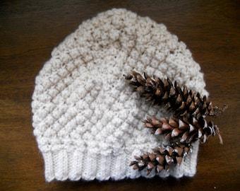 Knit beanie hat   Textured knit hat   Winter women's hat   White knit beanie   Acrylic hand knit   Gift accessories