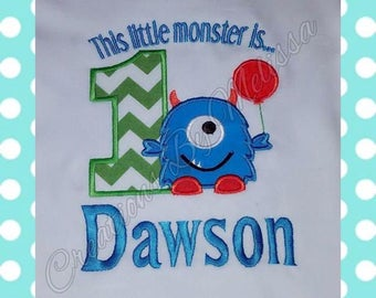 This Little Monster is One Birthday Shirt/Monster Birthday Shirt/1st Birthday Shirt/Boys 1st Birthday/1st Birthday/Monster Birthday