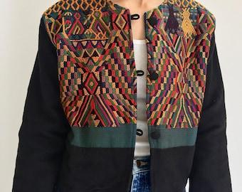 Vintage Guatemala Jacket | Woven Jacket | Crop patterned woven jacket | Chichicastenango Jacket | Vintage Multicolor woven jacket