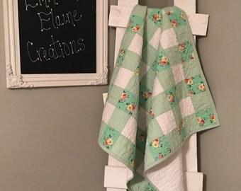 Patchwork Green Flower Quilt