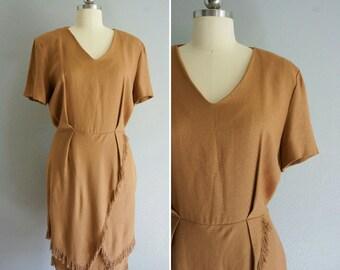 1980s Golden Hour fringe dress | vintage fringe dress | vintage 80s dress