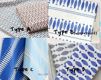 herring pattern fabric/fish fabric/cotton by the yard/table cloth/kitchen fabric/waterproof