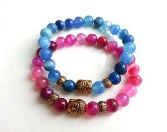 his and her bracelet/Buddha couple bracelet/pink  blue agate beads bracelet/Relationship Gemstone Stretch Bracelet/friendship bracelet/