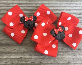 Minnie Mouse Bows / Minnie Mouse Piggy Tails Bows / Disney World Bows / Disney Bows / Set of 2
