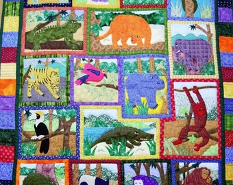 Hand made Jungle animals appliqued baby toddler nursery crib quilt wall hanging